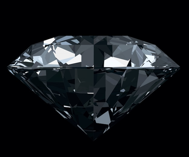 黒の背景に分離された眩しい、古典的な写真現実的なダイヤモンド。