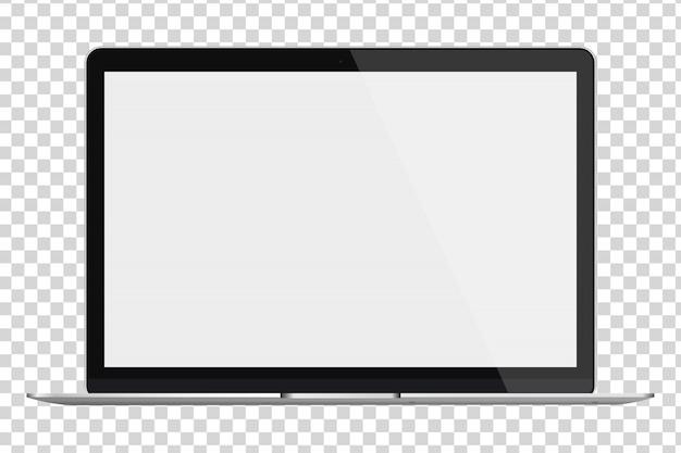 透明な背景に分離された空白の画面を持つノートパソコン。