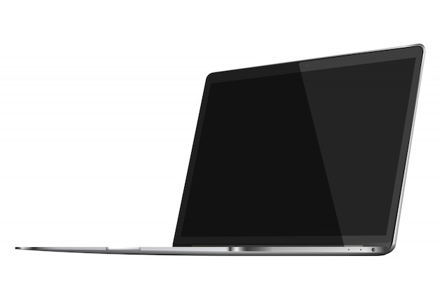 Компьтер-книжка при черный экран изолированный на белой предпосылке.