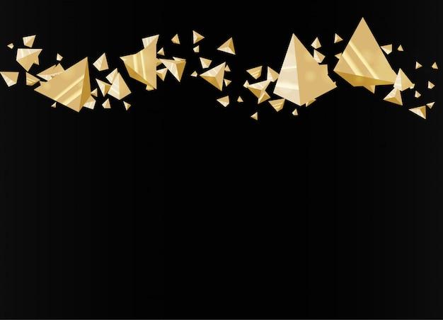 黒の背景に未来的な金のピラミッド。