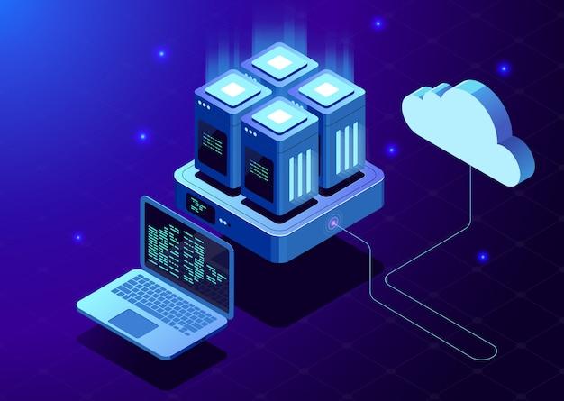 Изометрические современные облачные технологии и концепция сети.