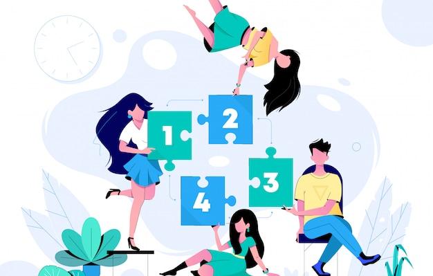 チームワークとチームビルディングのフラットの図。ジグソーパズルの漫画のキャラクターを組み立てる同僚。コワーキングとビジネスパートナーシップの概念。
