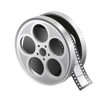 Значок рулона пленки. ролик фильма. реалистичный ролик фильма. иллюстрация на белом фоне. графический.
