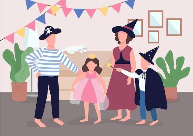 家族の休日のお祝いカラーイラスト。両親は子供たちにハロウィーンの準備をさせます。子供たちは衣装を着ます。背景にインテリアと親戚の漫画のキャラクター