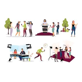 Журналист интервью плоской иллюстрации набор. папарацци, оператор, фотограф героев мультфильмов. репортеры, интервьюеры с микрофоном, видеооператор с камерой. пресса, журналистика