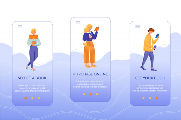 Онлайн книжный магазин на борту мобильного приложения вектор шаблон экрана