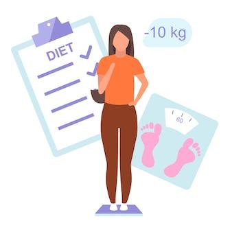 ダイエット計画と結果フラットイラスト。体重計の上に立って体重を制御する若い女性。スリムな女の子の白い背景の上の体の質量損失分離の漫画のキャラクターについて満足