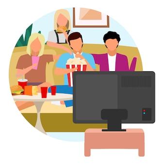 映画時間フラットコンセプトアイコン。テレビを見たり、スナック、ポップコーンを食べている友人。週末のアクティビティステッカー。一緒に時間を過ごす親友、気晴らし。白い背景の上の孤立した漫画イラスト