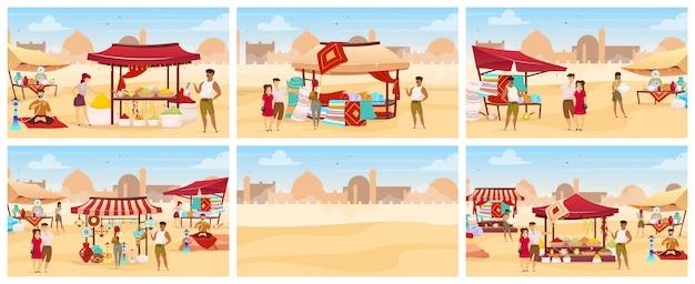 エジプトバザールフラットカラーイラストセット。カーペット、スパイス、手作りの陶器が並ぶアラブの屋外市場。手作りのお土産を購入する観光客は漫画のキャラクターです。砂漠の背景にイースタンスーク