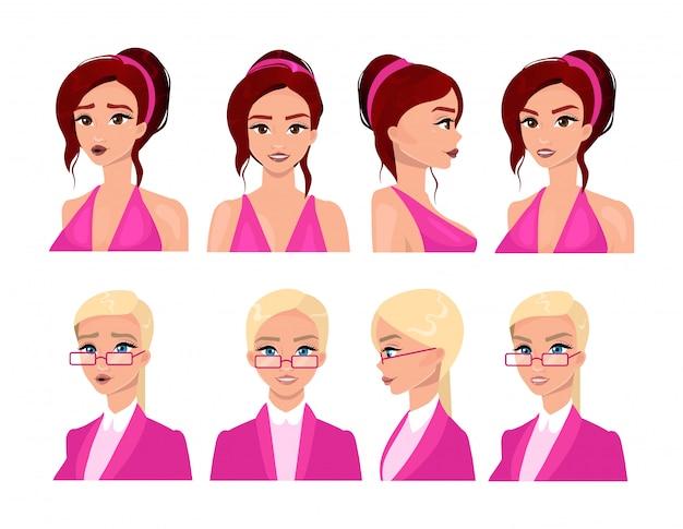 女性の顔フラットベクトルイラストセット