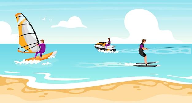 ウォータースポーツフラットイラスト。ウィンドサーフィン、水上スキー体験。水スクーターのアクティブなアウトドアライフスタイルのスポーツマン。熱帯の海岸線、ターコイズブルーの水景。アスリートの漫画のキャラクター