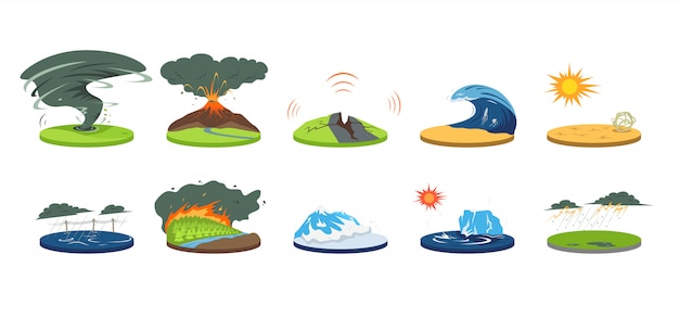 自然災害漫画イラストセット。極端な気象条件。大災害、大変動。洪水、雪崩、ハリケーン。地震、津波。白の色災い
