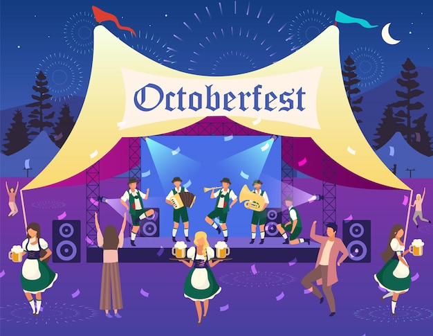 Октоберфест иллюстрации. народное представление, концерт в палатке. фестиваль пива. музыка и танцы. люди в национальных костюмах несут пиво, веселятся. фольксфест, официантка, герои мультфильмов