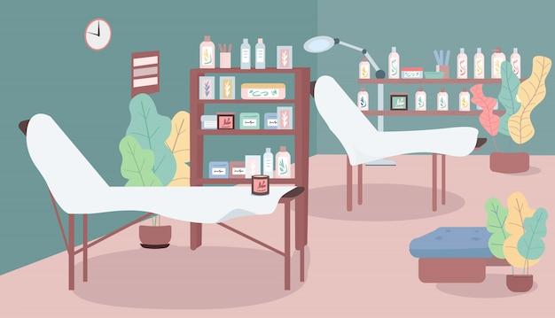 Ваксация салон цветная иллюстрация. рабочее место в косметологическом цехе. кровати для процедуры удаления волос. комната для депиляции. салон красоты мультфильм интерьер с мебелью на фоне