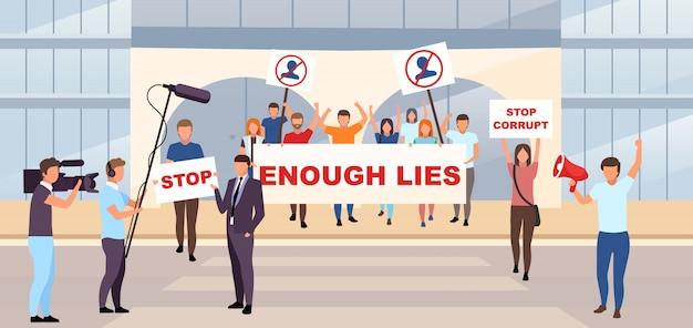 Иллюстрация политической акции протеста. проявление демократии, патриотическая демонстрация концепции. пикет, бастующие активисты держат плакаты с лозунгами против авторитетных героев мультфильмов
