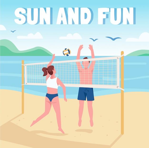 Друзья играют в пляжный волейбол в социальных сетях. солнце и веселая фраза. шаблон веб-баннера. бустер, разметка контента с надписью.