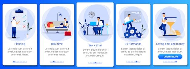 時間管理オンボーディングモバイルアプリ画面テンプレート。
