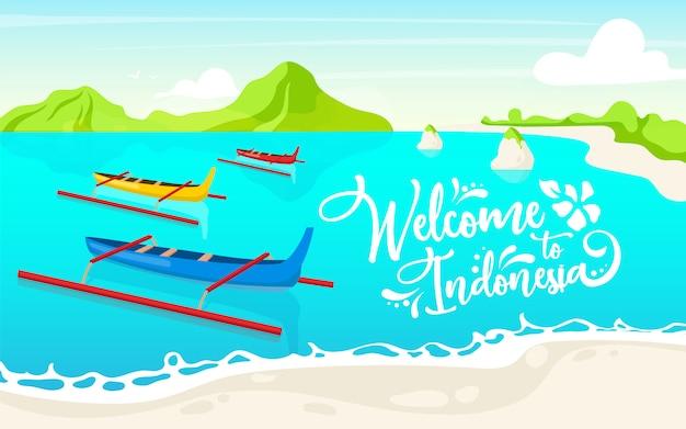 Добро пожаловать в индонезию плоский шаблон плаката. лодки в озере. уотерскейп. дизайн баннеров, листовок. таиланд живописный пейзаж мультфильм фон. каноэ в воде с каллиграфическими надписями