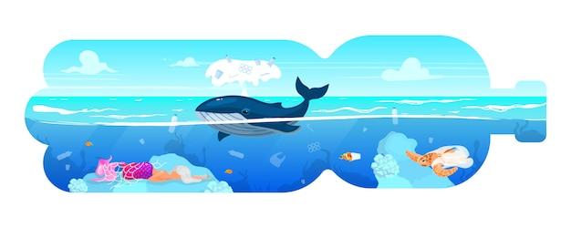 Кит и отходы в пластиковой бутылке силуэт плоской концепции значок. загрязнение окружающей среды. морские животные и мусор в морской воде стикер, клипарт. изолированная иллюстрация шаржа на белой предпосылке