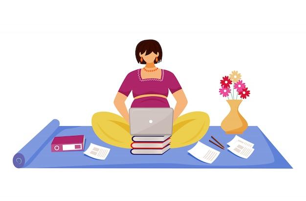 Беременная женщина, работающая на ноутбуке плоской иллюстрации. молодая девушка фрилансер готовит отчет во время беременности, сидя на полу мультипликационный персонаж на белом фоне