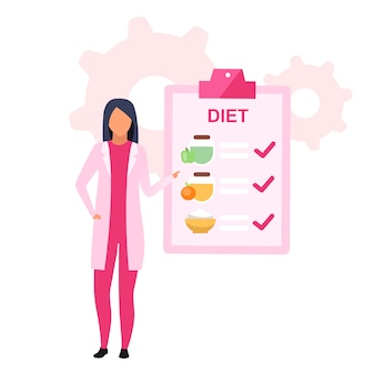 食物栄養計画フラットイラスト。体重を減らすための健康食品を処方女性栄養士は、白い背景の上の漫画のキャラクターを分離しました。栄養士が食事スケジュールを推奨