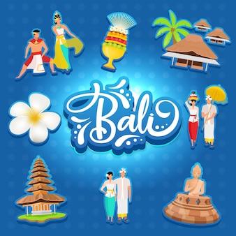 Бали социальные медиа пост макет. индонезийский остров. азиатская культура. рекламный баннер дизайн шаблона. усилитель социальных сетей, макет контента. рекламный плакат, печатная реклама, плоские иллюстрации, наклейки