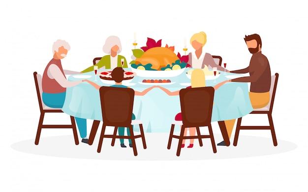 感謝祭の日フラットイラスト。秋の年次休暇のお祝い。お祝いの食事。収穫を一緒に祝います。トルコの隔離された漫画のキャラクターと家族の夕食
