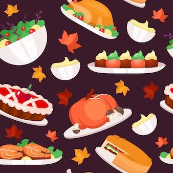 感謝祭の日フラットシームレスパターン。