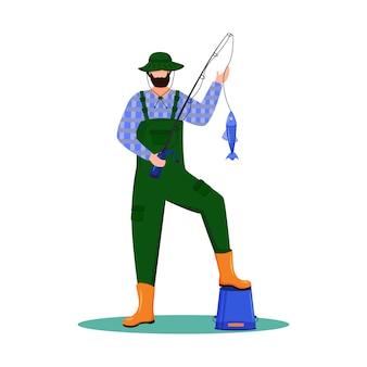 漁師フラットイラスト。スポーツ、アクティブレジャー。海事占領。白い背景の上の釣り竿分離された漫画のキャラクターとフィッシャー