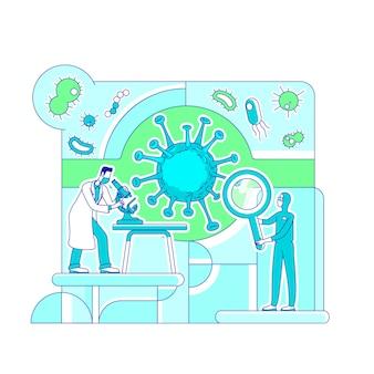 Вирусология наука тонкая линия концепции иллюстрации
