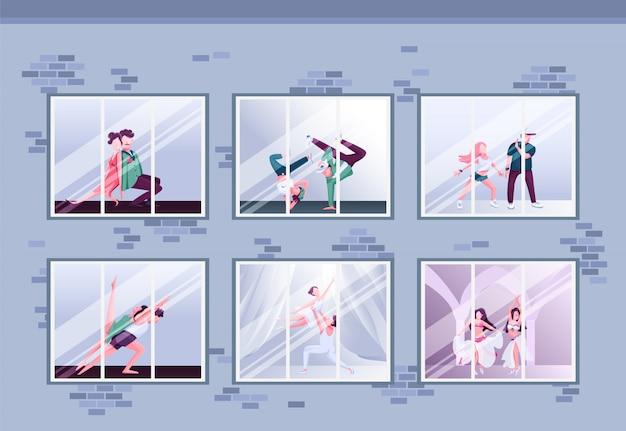Утренний танцевальный класс плоская цветная иллюстрация