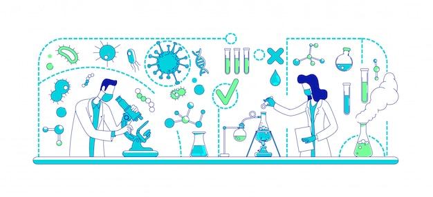 Медицинский эксперимент тонкая линия концепции иллюстрации
