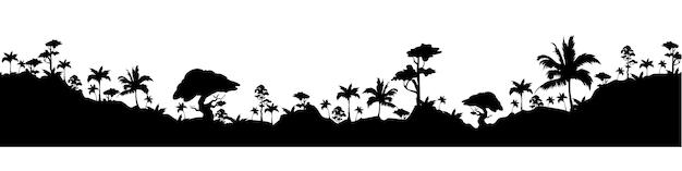 Тропический пейзаж черный силуэт бесшовные границы
