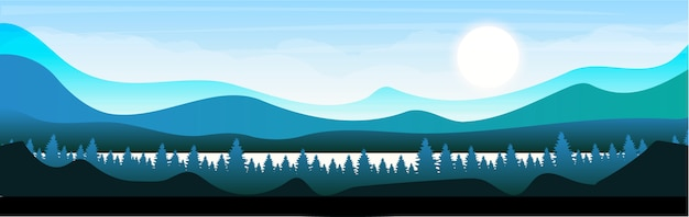 森のフラットカラーイラストの朝