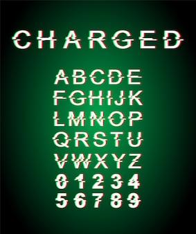 充電されたグリッチフォントテンプレート。レトロな未来的なスタイルのアルファベットが緑の背景に設定。大文字、数字、記号。ゆがみ効果のある活字書体デザイン