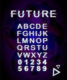 将来のグリッチフォントテンプレート。レトロな未来的なスタイルのアルファベットは、紫色の虹色の背景に設定します。大文字、数字、記号。歪み効果のあるトレンディな書体デザイン