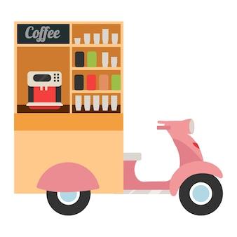 コーヒーフードトラックフラットベクトルイラスト。