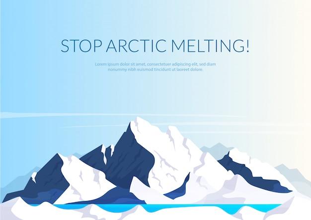 Остановить арктический тающий баннер плоский шаблон