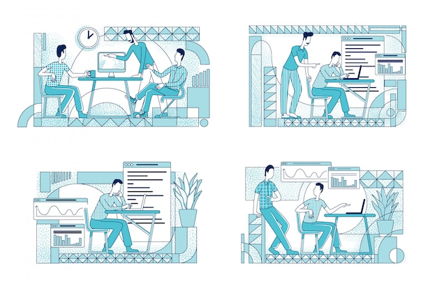 同僚のコワーキングフラットシルエットイラストセット。マーケティング部門の労働者は、白い背景の上の文字を概説します。シンプルなスタイルの図面パックを分析する会社分析