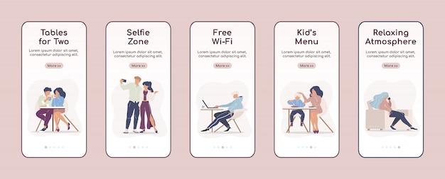 Городское кафе услуги бортовой шаблон мобильного экрана плоский шаблон