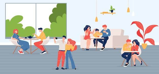 Люди в городском кафе плоской цветной иллюстрации