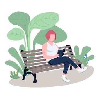 公園フラットカラーベクトルの顔のない文字で本を読んでいる女の子。