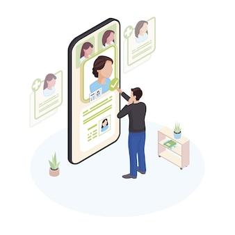 Выбор доктора онлайн изометрические иллюстрации. пациент выбирая профиль врача на экране смартфона изолировал характер. персонал телемедицины, выбор специалистов с использованием телекоммуникационных технологий