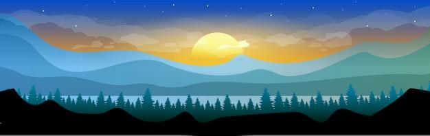 Восход солнца в лесу цветная иллюстрация