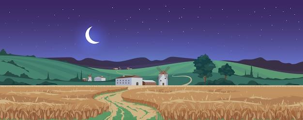 小麦畑のカラーイラストの上の新月