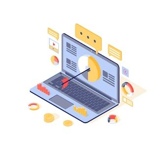 ターゲティングとコンテンツマーケティングのイラスト。メディアの聴衆の魅力、リードジェネレーションのコンセプト。インバウンドマーケティング戦略、広告キャンペーン、オンラインプロモーション