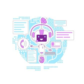 チャットボットアプリの細い線のコンセプト