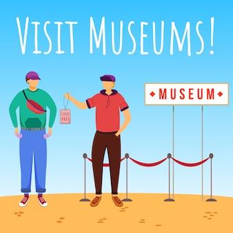 Посещение музеев в социальных сетях. скидка на студенческий пропуск. рекламный шаблон веб-баннера. усилитель социальных сетей, макет контента. рекламный плакат, печатная реклама с иллюстрациями