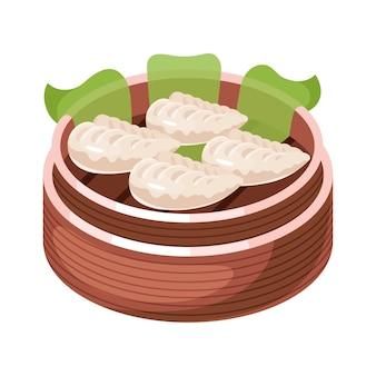 中国の点心の色アイコン。バスケットのアジアの小さな一口料理。東部の伝統的な料理。詰め物が異なる蒸しパイ。肉、野菜、スパイスと餃子。図