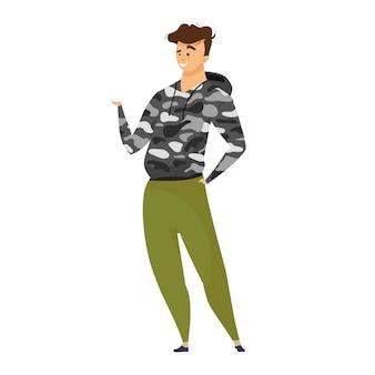 エクスプローラーのカラーイラスト。サバイバルスタイルの服の冒険家。迷彩服の男性の観光客。アクティブなライフスタイルクロス。白い背景の上の探検家の漫画のキャラクター